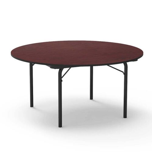 Our 6000 Series Traditional Round Folding Laminate Table with Walnut Top and Black Frame - 60