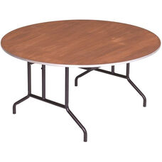 Round Sealed and Stained Plywood Top Table with Aluminum T - Molding Edge - 60