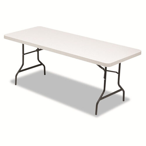 Alera® Resin Rectangular Folding Table - Square Edge - 72w x 30d x 29h - Platinum