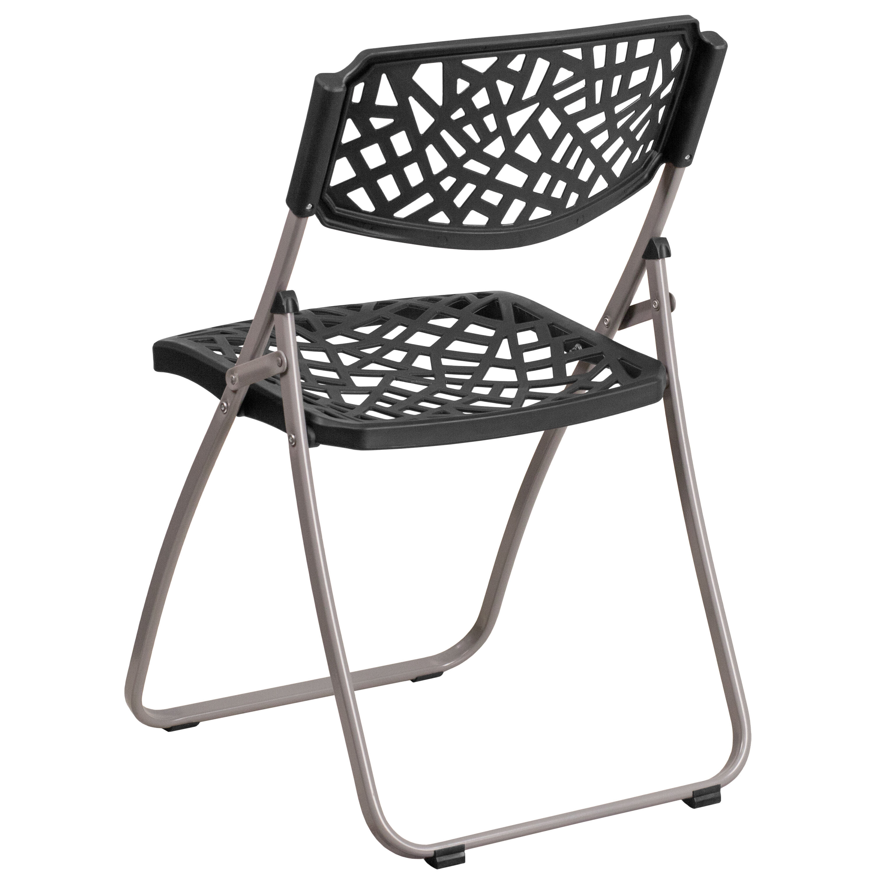 Capacity Black Plastic Folding Chair With Silver Frame Is ...