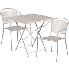 "Commercial Grade 28"" Square Light Gray Indoor-Outdoor Steel Folding Patio Table Set with 2 Round Back Chairs"