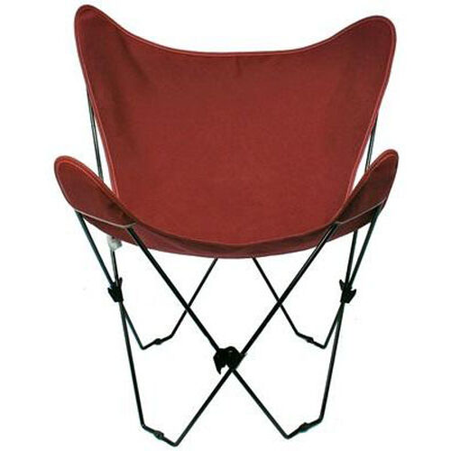 Folding Butterfly Chair with Black Steel Frame and Cotton Cover
