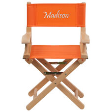 Embroidered Kid Size Directors Chair in Orange