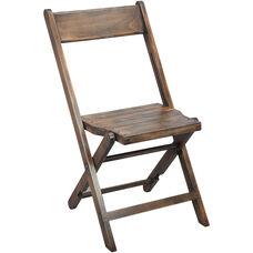Advantage Slatted Wood Folding Wedding Chair - Antique Black