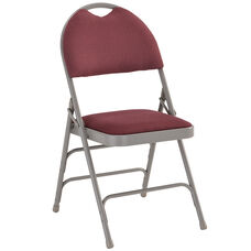 HERCULES Series Ultra-Premium Triple Braced Burgundy Fabric Metal Folding Chair with Easy-Carry Handle