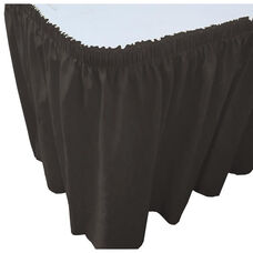 Wave 17 Foot Shirred Pleat Table Skirt with SnugTight™ Clips - Black
