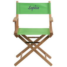Embroidered Standard Height Directors Chair in Green