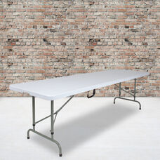 8-Foot Height Adjustable Bi-Fold Granite White Plastic Banquet and Event Folding Table with Carrying Handle