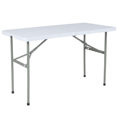 """Our 24""""W x 48""""L Bi-Fold Granite White Plastic Folding Table is on sale now."""