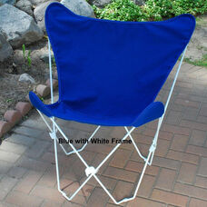 Folding Butterfly Chair with White Steel Frame and Cotton Cover - Royal Blue
