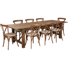 HERCULES Series 9' x 40'' Antique Rustic Folding Farm Table Set with 8 Cross Back Chairs and Cushions