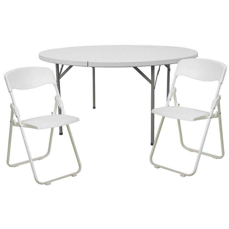 - 60RD White Fold Table Set DAD-YCZ-154-GW-RUT-I-WHITE-SET-GG