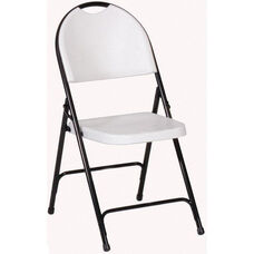 Armless Plastic Folding Chair with Black Steel Frame and Carrying Handle - Gray Granite Seat and Back