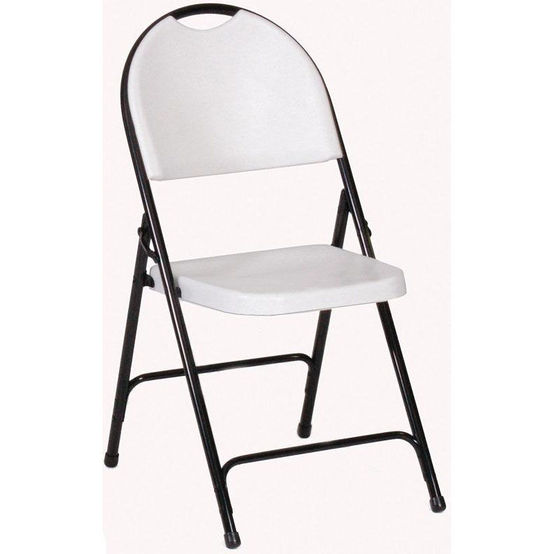 ... Our Armless Plastic Folding Chair With Black Steel Frame And Carrying  Handle   Gray Granite Seat ...