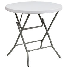 3-Foot Round Granite White Plastic Folding Table