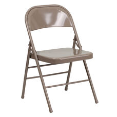 HERCULES Series Triple Braced & Double-Hinged Beige Metal Folding Chair