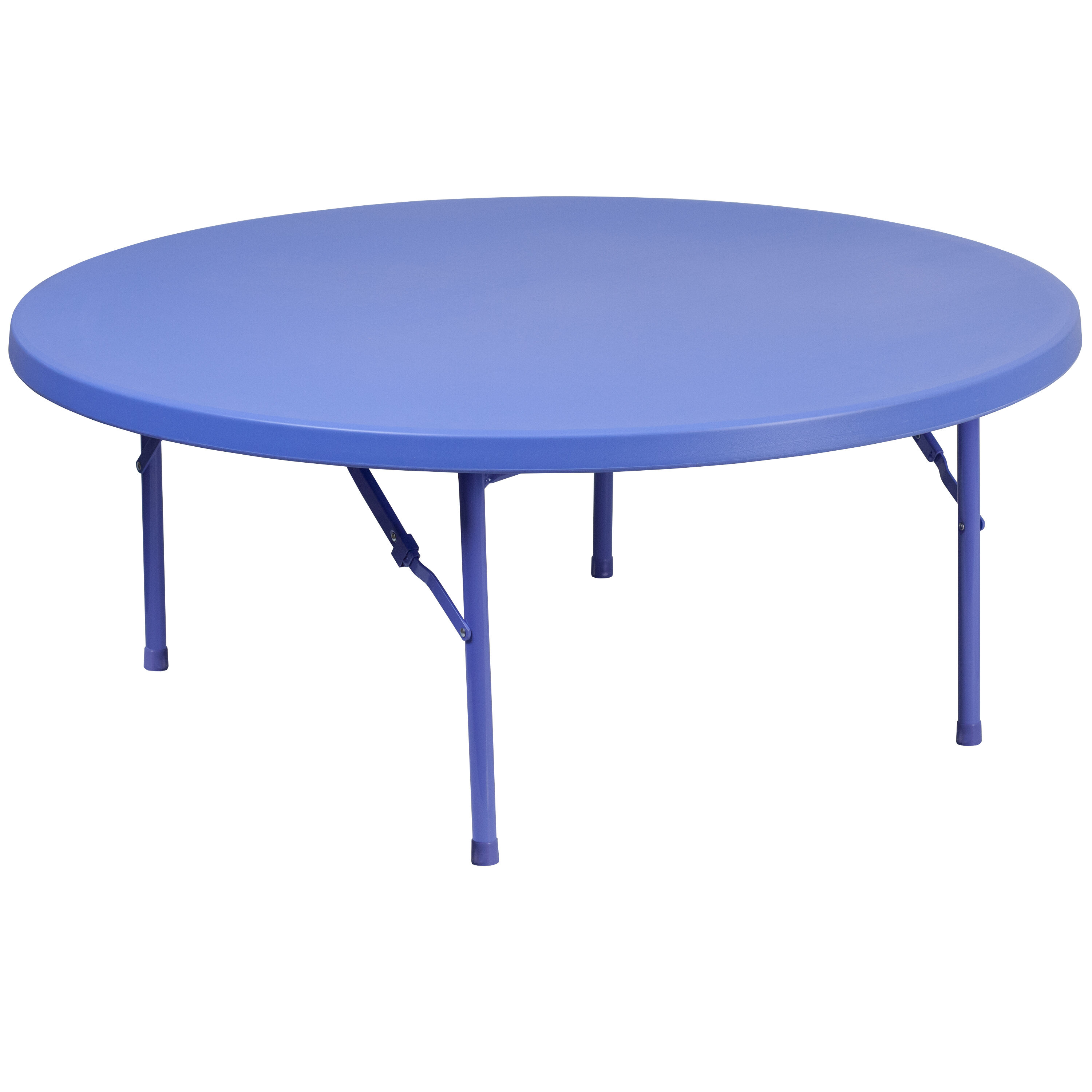 48u0027u0027 Round Kidu0027s Blue Plastic Folding Table