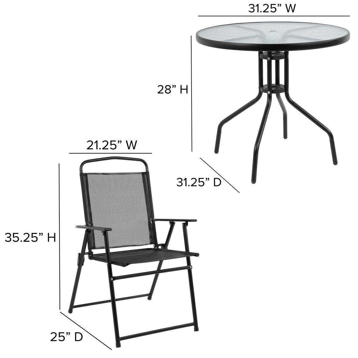 Astonishing Nantucket 6 Piece Black Patio Garden Set With Table Umbrella And 4 Folding Chairs Uwap Interior Chair Design Uwaporg