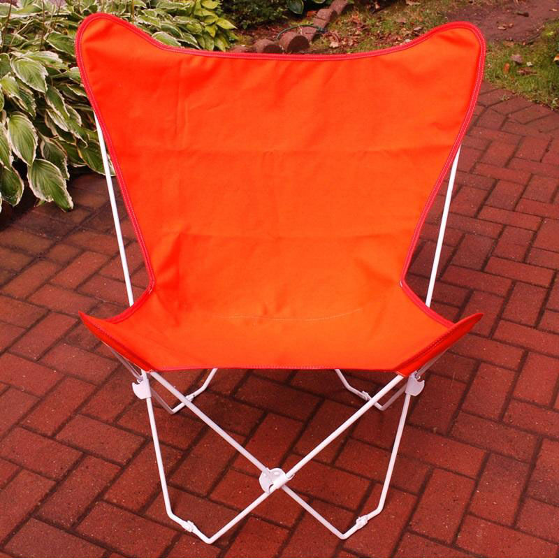 ... Our Folding Butterfly Chair With White Steel Frame And Cotton Cover    Orange Is On Sale