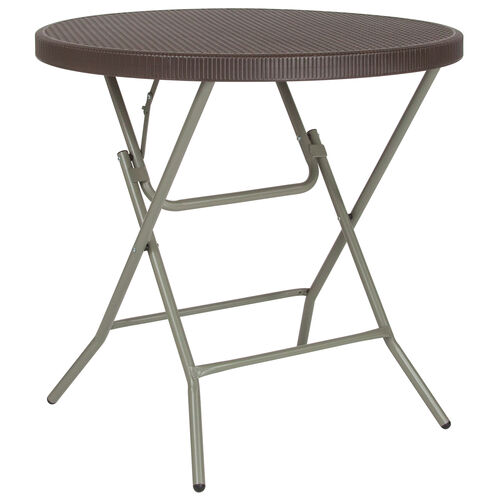 Our 3-Foot Round Brown Rattan Plastic Folding Table is on sale now.