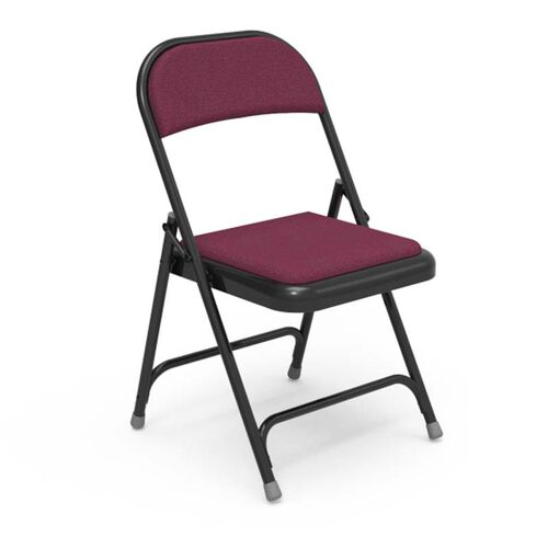 Our Multi-Purpose Steel Folding Chair with Sedona Ruby Fabric Pads and Black Frame - 17.75