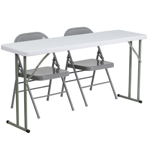 Our 5-Foot Plastic Folding Training Table Set with 2 Gray Metal Folding Chairs is on sale now.