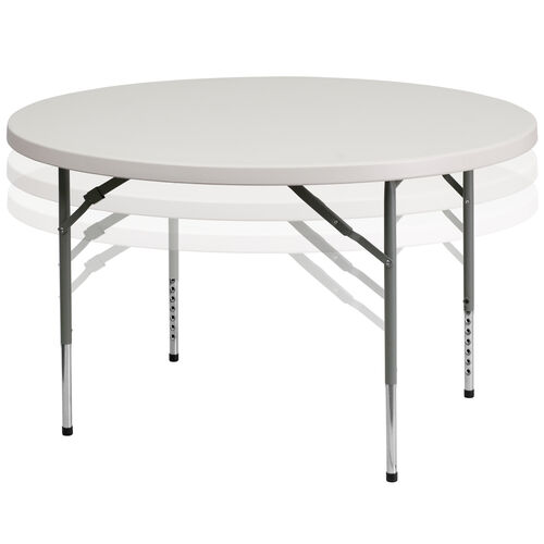 Our 4-Foot Round Height Adjustable Granite White Plastic Folding Table is on sale now.