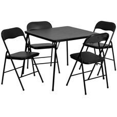 5 Piece Black Folding Card Table and Chair Set