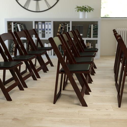 HERCULES Series Mahogany Wood Folding Chair with Vinyl Padded Seat