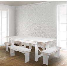 "HERCULES Series 7' x 40"" Antique Rustic White Folding Farm Table and Four Bench Set"
