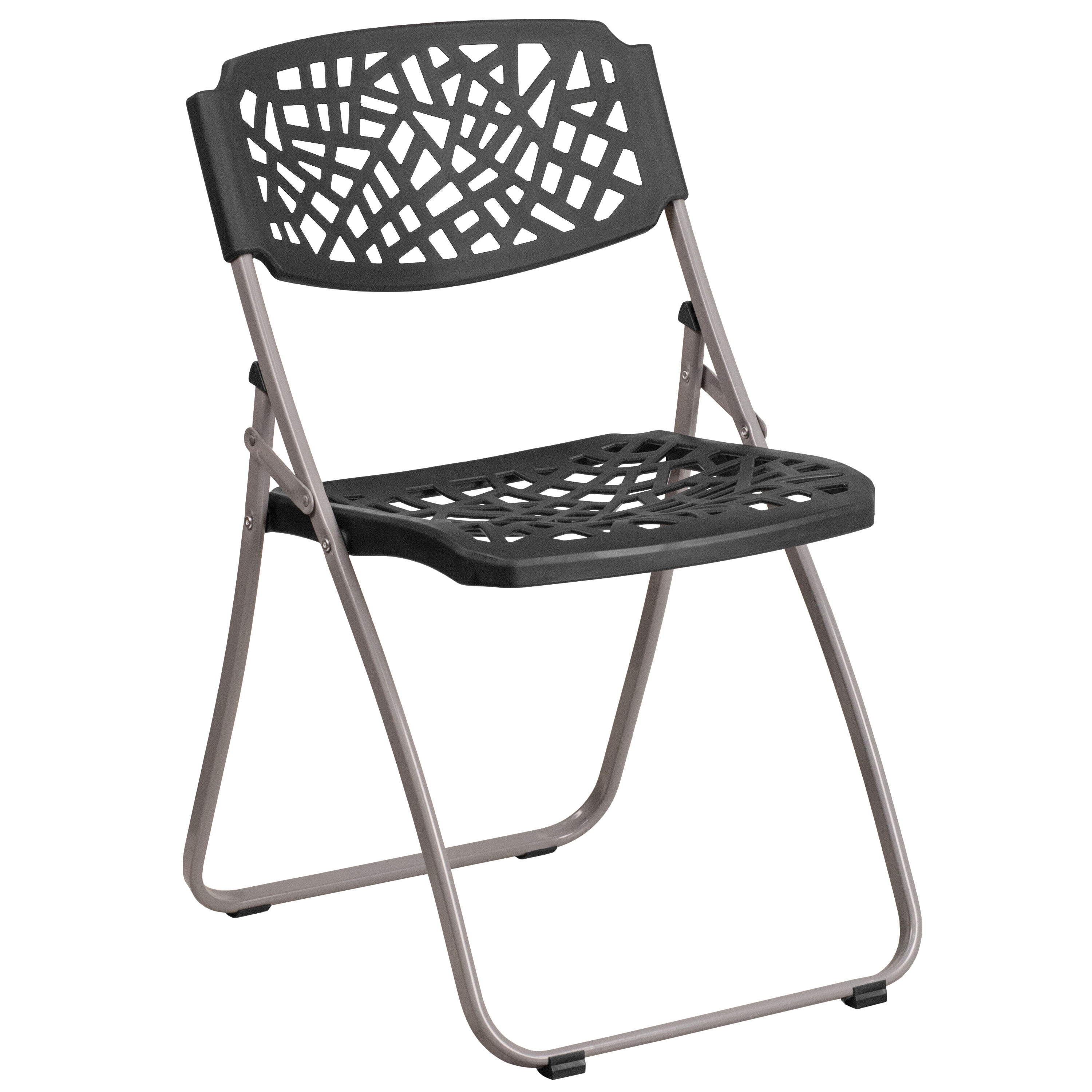 Beau Capacity Black Plastic Folding Chair With Silver Frame Is ...
