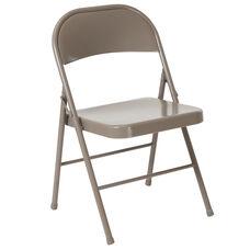 HERCULES Series Double Braced Gray Metal Folding Chair