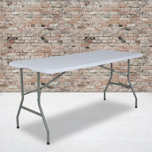 4.97-Foot Bi-Fold Granite White Plastic Folding Table