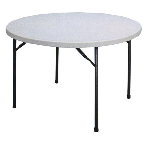 Economy Blow-Molded Round Plastic Top Folding Table - 48