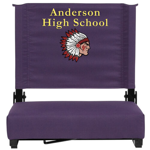 Personalized Grandstand Comfort Seats by Flash - 500 lb. Rated Stadium Chair with Handle & Ultra-Padded Seat, Dark Purple