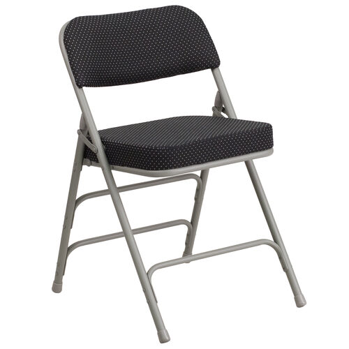 Our HERCULES Series Premium Curved Triple Braced & Double-Hinged Black Pin-Dot Fabric Metal Folding Chair is on sale now.