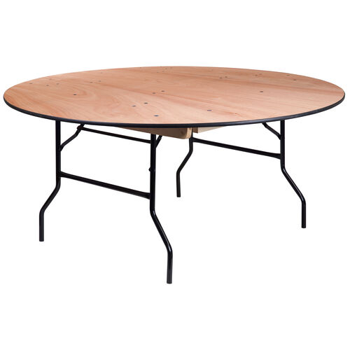 Our 5.5-Foot Round Wood Folding Banquet Table with Clear Coated Finished Top is on sale now.