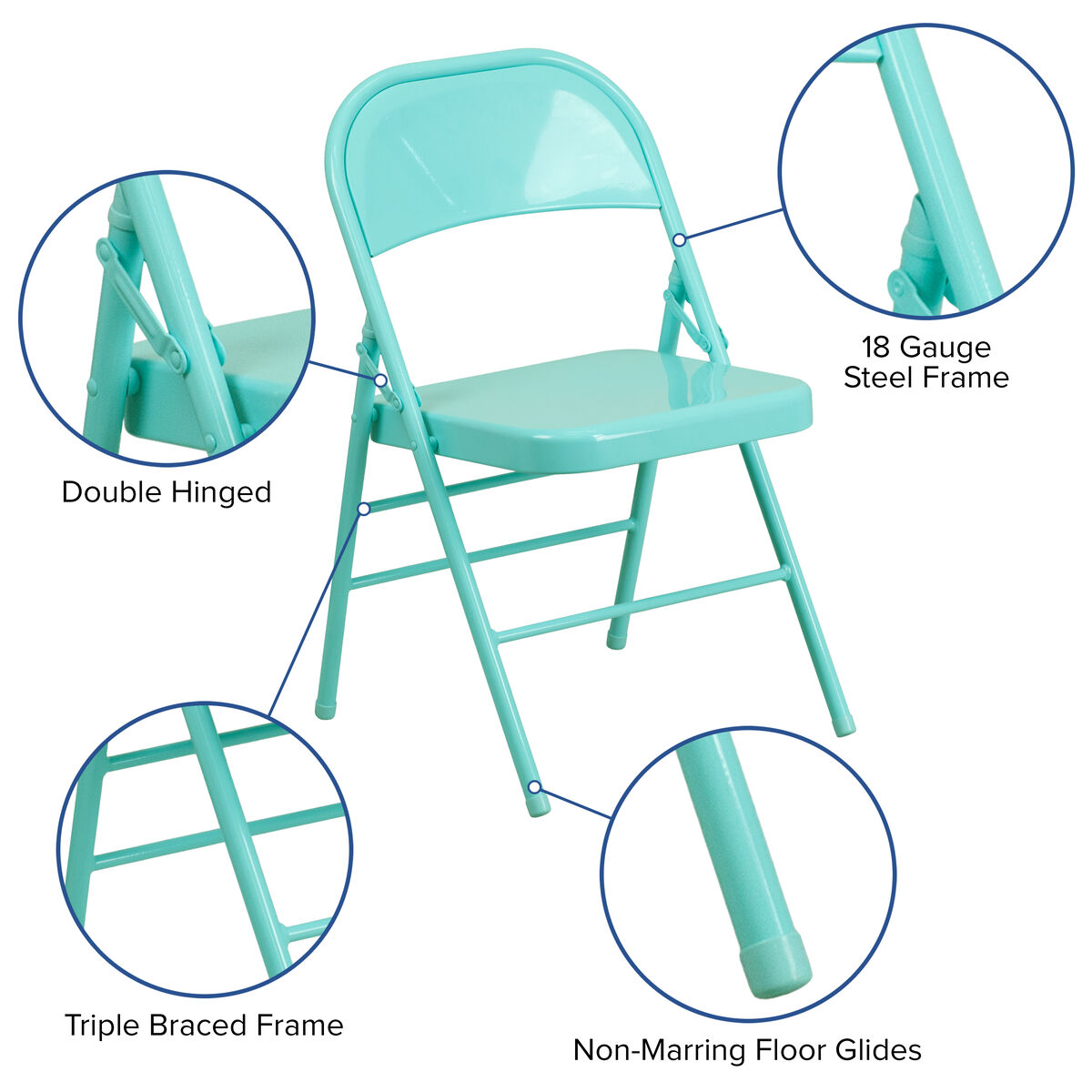 Tantalizing Teal Folding Chair Hf3 Teal Gg