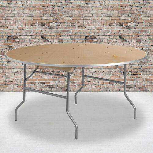 Our 5-Foot Round HEAVY DUTY Birchwood Folding Banquet Table with METAL Edges is on sale now.