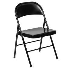 HERCULES Series Double Braced Black Metal Folding Chair