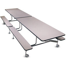 Foldable Rectangular Cafeteria Table with 4 Attached Bench Seats - 96