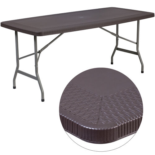 Our 5.62-Foot Brown Rattan Indoor-Outdoor Plastic Folding Table is on sale now.