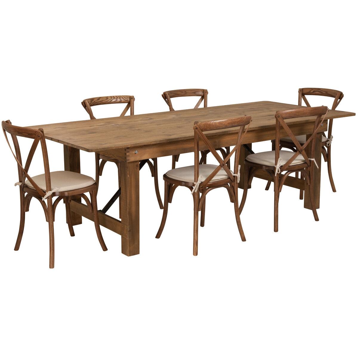 """8'x40"""" Farm Table/6 Chair Set XA-FARM-11-GG"""