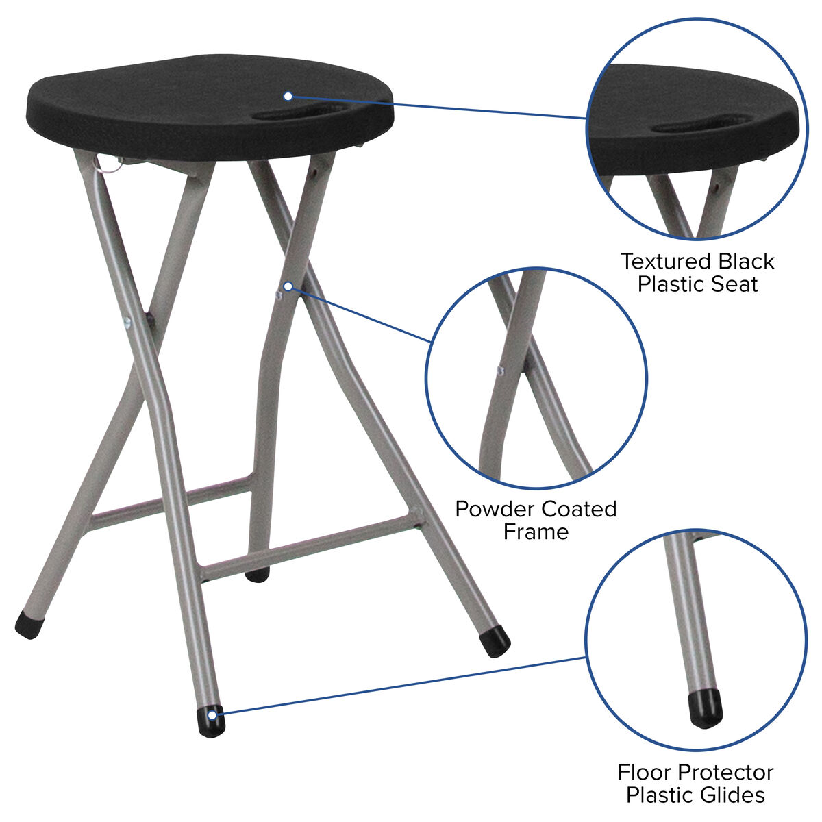 Incredible Foldable Stool With Black Plastic Seat And Titanium Gray Frame Uwap Interior Chair Design Uwaporg