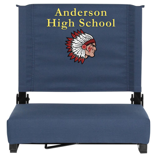 Our Embroidered Grandstand Comfort Seats by Flash with Ultra-Padded Seat in Navy Blue is on sale now.