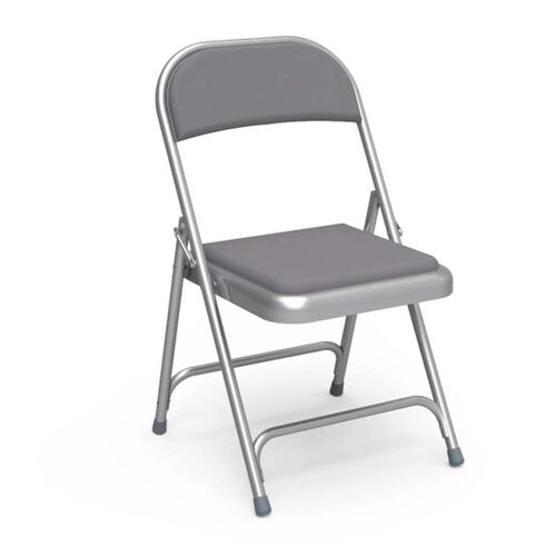 Our Quick Ship Multi-Purpose Steel Folding Chair with Silver Mist Vinyl Pads and Frame - 17.75