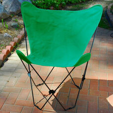 Folding Butterfly Chair with Black Steel Frame and Cotton Cover - Hunter Green