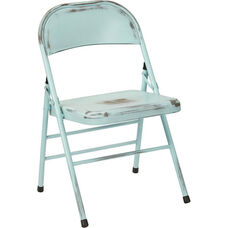 OSP Designs Bristow Distressed Steel Folding Chair - Set of 2 - Antique Sky Blue