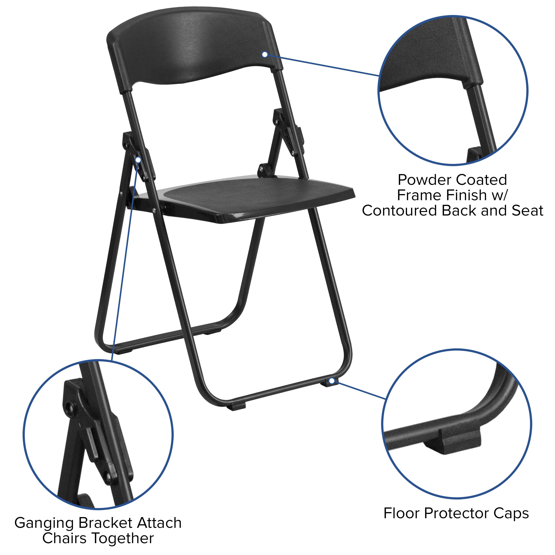 Capacity Heavy Duty Black Plastic Folding Chair With Built