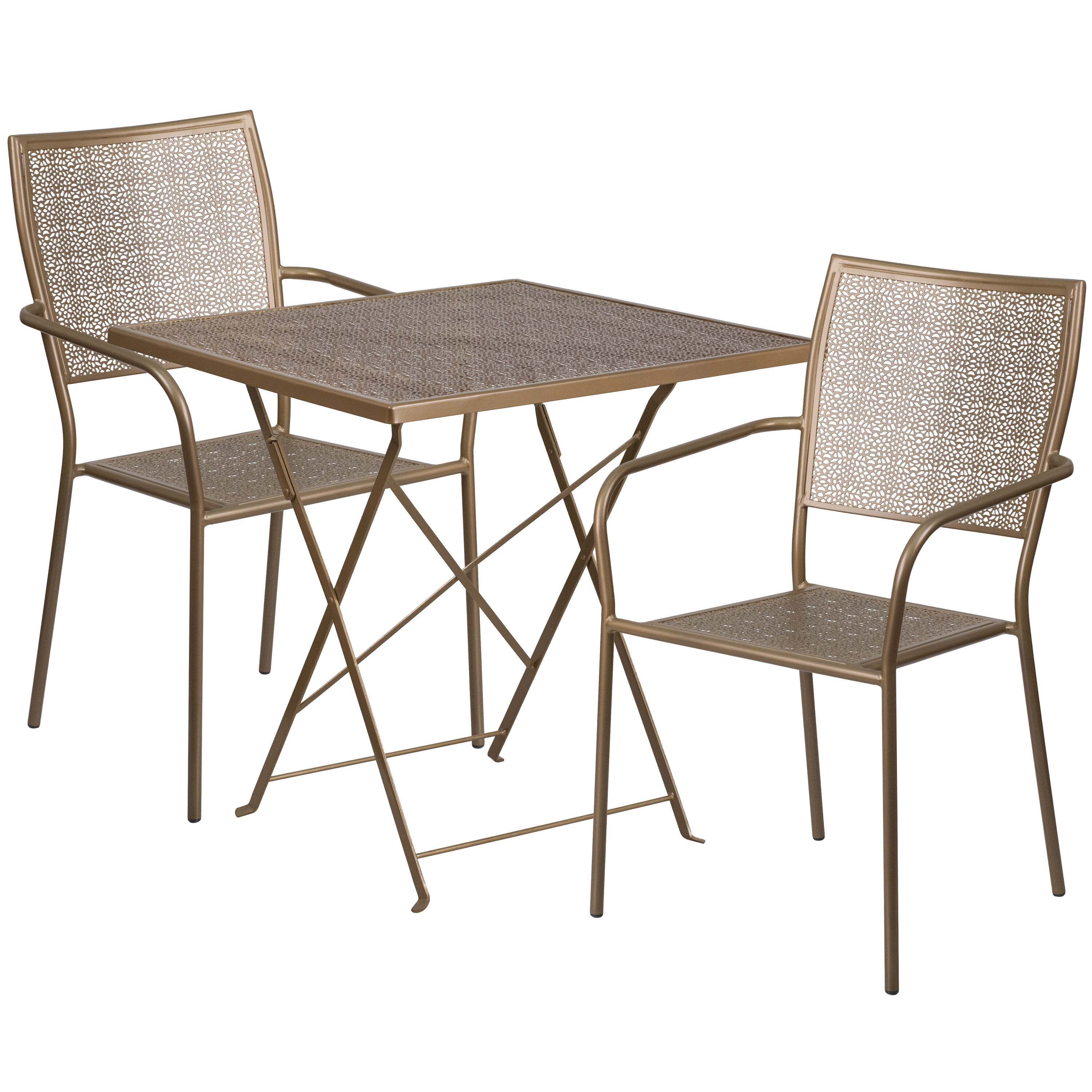 ... Our 28u0027u0027 Square Gold Indoor Outdoor Steel Folding Patio Table Set With 2